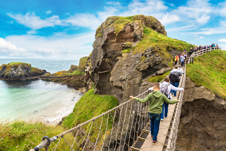 NORTHERN IRELAND, UNITED KINGDOM - JUNE 14, 2016: Carrick-A-Rede rope bridge, Northern Ireland, United Kingdom on June 14, 2016