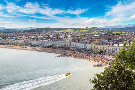 Panoramic view of beach in llandudno in Wales in a beautiful summer day, United Kingdom