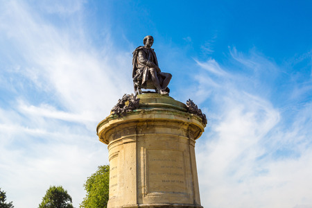 Statue of William Shakespeare in Stratford upon Avon in a beautiful summer day, England, United Kingdom