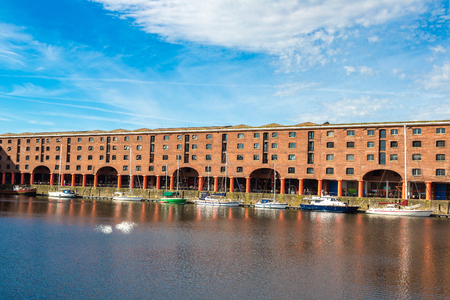 View of Albert Dock in Liverpool in a beautiful summer day, England, United Kingdom