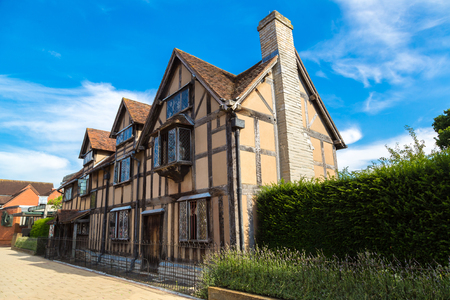 William Shakespeares Birthplace on Henley street in Stratford-upon-Avon in a beautiful summer day, England, United Kingdom Editorial