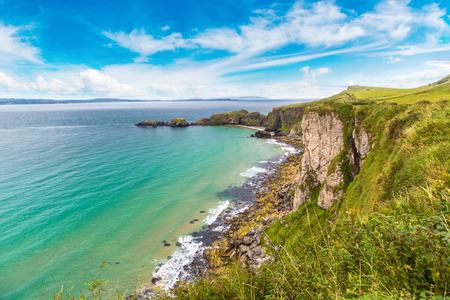 northern ireland: Carrick-a-Rede, Causeway Coast Route in a beautiful summer day, Northern Ireland, United Kingdom