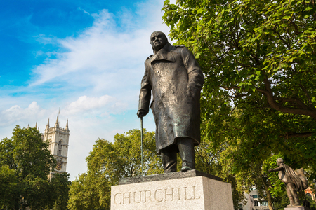 statesman: Statue of Winston Churchill in Parliament Square in a beautiful summer day, London, England, United Kingdom