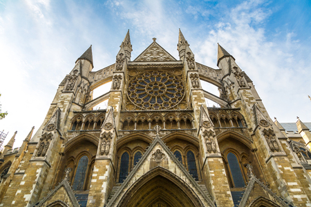 Westminster Abbey, The Collegiate Church of St Peter, in a beautiful summer day, London, England, United Kingdom