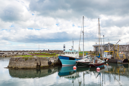 northern ireland: Small port in Carnlouhg town in a beautiful summer day, Northern Ireland, United Kingdom