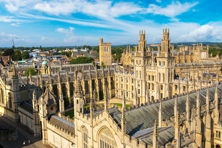 Panoramic aerial view of All Souls College, Oxford University, Oxford in a beautiful summer day, England, United Kingdom Editorial
