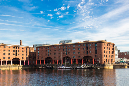 mersey: View of Albert Dock in Liverpool in a beautiful summer day, England, United Kingdom