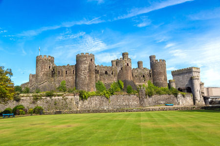 Conwy Castle in Wales in a beautiful summer day, England, United Kingdom Stock Photo