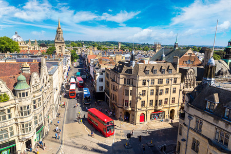 Panoramic aerial view of Oxford in a beautiful summer day, England, United Kingdom Stock Photo