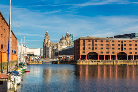 mersey: View of Albert Dock and Three Graces building in Liverpool in a beautiful summer day, England, United Kingdom Editorial