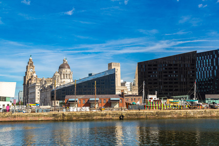 mersey: View of Albert Dock and Three Graces building in Liverpool in a beautiful summer day, England, United Kingdom Stock Photo