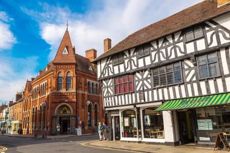 STRATFORD-UPON-AVON, ENGLAND - JUNE 15, 2016: Half-timbered house in Stratford upon Avon, England, United Kingdom on June 15, 2016 Editorial