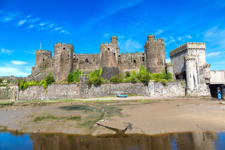 wales: Conwy Castle in Wales in a beautiful summer day, England, United Kingdom Stock Photo