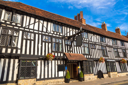 half timbered house: Half-timbered house in Stratford upon Avon in a beautiful summer day, England, United Kingdom Editorial