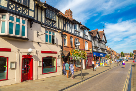 STRATFORD-UPON-AVON, ENGLAND - JUNE 15, 2016: Half-timbered house in Stratford upon Avon, England, United Kingdom on June 15, 2016 Editorial