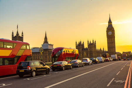 british touring car: Big Ben, Westminster Bridge and red double decker bus in London, England, United Kingdom