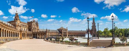 Panorama of Spanish Square (Plaza de Espana) in Sevilla in a beautiful summer day, Spain