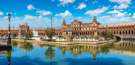 Panorama of Spanish Square (Plaza de Espana) in Sevilla in a beautiful summer day, Spain
