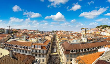 Panoramic aerial view of Lisbon and Sao Jorge Castle in a beautiful summer day, Portugal Stock Photo