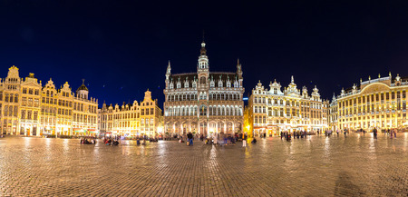 Panorama The Grand Place in Brussels in a beautiful summer nigth, Belgium