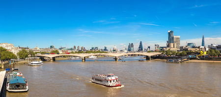 Cityscape of London and Blackfriars Bridge in a beautiful summer day, England, United Kingdom
