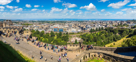 EDINBURGH, SCOTLAND - JUNE 25, 2016: Edinburgh castle cannon which shoots at one oclock, Scotland, United Kingdom on June 25, 2016