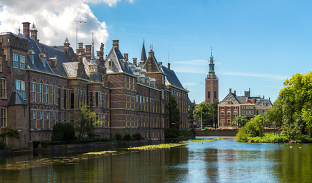 Binnenhof palace, dutch parliament in Hague in a beautiful summer day, The Netherlands