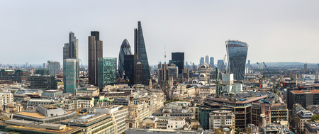 Panoramic aerial view of London and the Shard in a beautiful summer day, England, United Kingdom