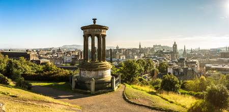 scottish culture: Panoramic aerial view of Edinburgh castle from Calton Hill in a beautiful summer evening, Scotland, United Kingdom
