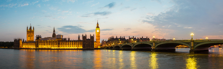 The Big Ben, the Houses of Parliament and Westminster bridge in London in a beautiful summer night, England, United Kingdom Reklamní fotografie - 74723080