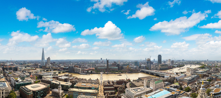 shard: Panoramic aerial view of London and the Shard in a beautiful summer day, England, United Kingdom