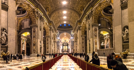 VATICAN, VATICAN - DECEMBER 25, 2016: Interior of St. Peter Basilica in Vatican