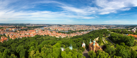 Panoramic aerial view of Charles Bridge in Prague in a beautiful summer day, Czech Republic