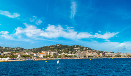le: Yachts anchored in port in Cannes in a beautiful summer day, France Stock Photo