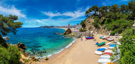 Beaches in Lloret de Mar in a beautiful summer day, Costa Brava, Catalonia, Spain