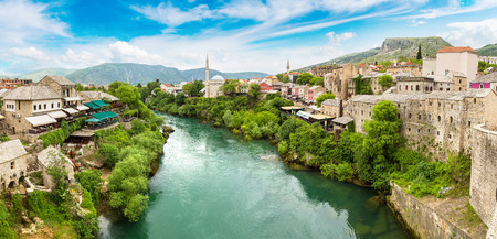 Panorama of The Old Bridge in Mostar in a beautiful summer day, Bosnia and Herzegovina