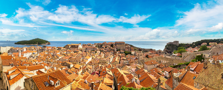 Panorama of old city Dubrovnik in a beautiful summer day, Croatia Stock Photo