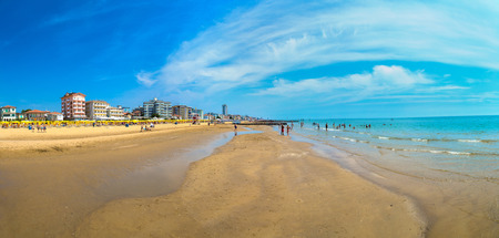 Beach of Lido di Jesolo at adriatic Sea in a beautiful summer day, Italy