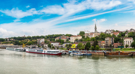 Belgrade cityscape from the Sava river in Serbia in a beautiful summer day