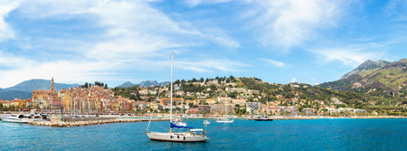 menton: Panorama of Colorful old town and beach in Menton on french Riviera in a beautiful summer day, France