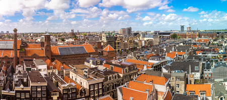 saint nicolas: Panorama of St. Nicolas Church in Amsterdam in a beautiful summer day, The Netherlands