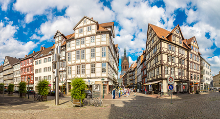 HANNOVER, GERMANY - JUNE 11, 2016: Old town and Marktkirche church in Hannover in a beautiful summer day, Germany on June 11, 2016