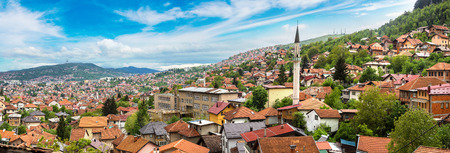 Panoramic aerial view of Sarajevo in a beautiful summer day, Bosnia and Herzegovina 스톡 콘텐츠