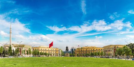 Panorama of Skanderbeg square and Skanderbeg monument in Tirana in a beautiful summer day, Albania