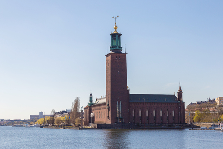 City Hall castle in the Old Town (Gamla Stan) in Stockholm, Sweden in a summer day Editorial