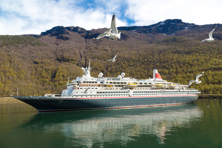 hardanger: Cruise ship in Norway in a sunny day Editorial