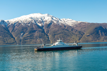 Ferry ship in Norway in a sunny day