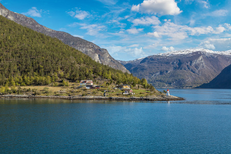 Small village in Sognefjord in Norway in a sunny day Stock Photo