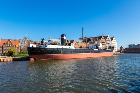 first day: SS SOLDEK ship museum on Motlawa river in Gdansk is the first ship built after World War II in Poland in a summer day
