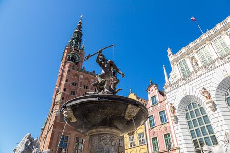 Fountain of Neptune on the Dlugi Targ Street in Gdansk, Poland in a summer day